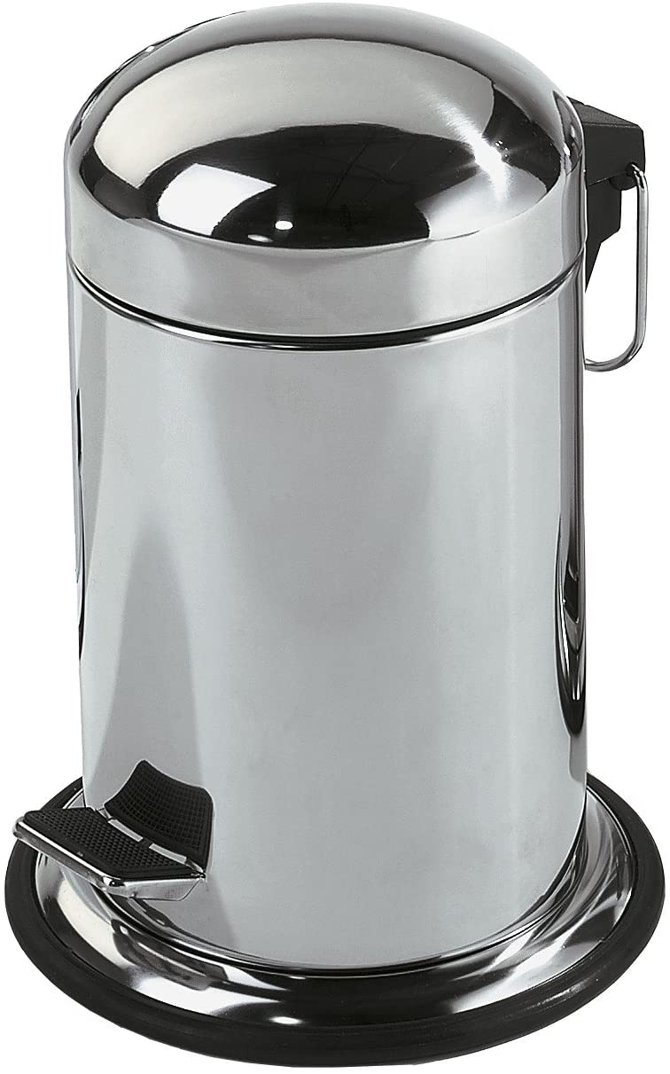 DWBA Round Step Trash Can, Stainless Steel Wastebasket W/Lid Cover (Polished Steel)
