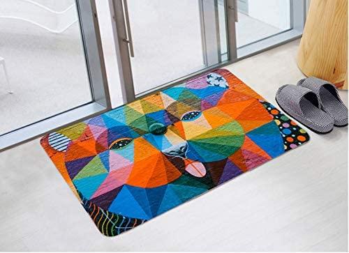 Abstract Dog Print Foam Bathroom Carpet and Door Mat Non-Slip Water Absorbent Flannel Bathroom Carpet Bed Carpet 24 X 16 Inch