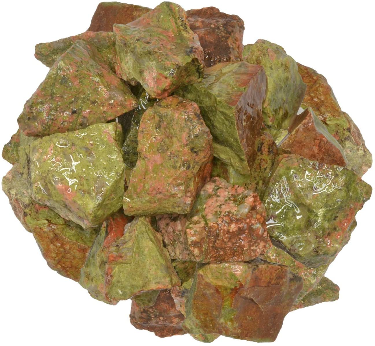 Digging Dolls: 1/2 lb of Unakite Rough Stones from India - Raw Rocks Perfect for Tumbling, Lapidary Polishing, Reiki, Crystal Healing and Crafts!