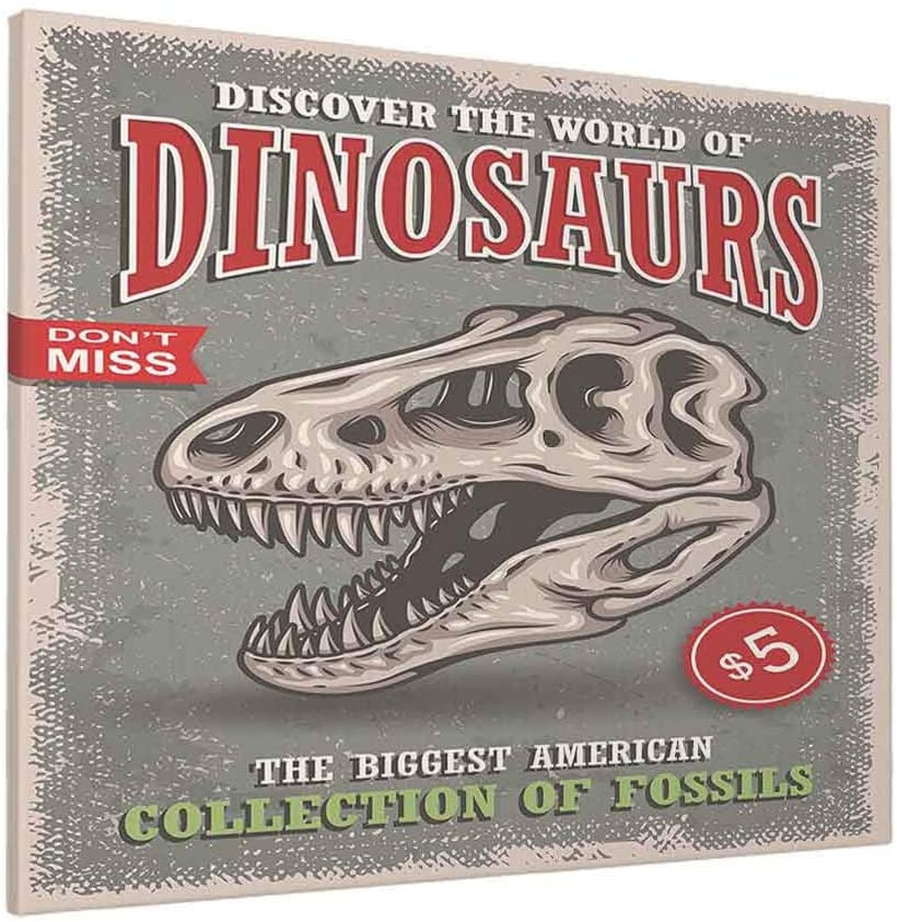 HOSNYE Dinosaurs Poster Wall Art Skull of Tyrannosaur with Badges Show, Exhibition, Park Canvas Print Picture for Living Room Bedroom Bathroom Office Decor Framed Artwork 20 x 24 inch