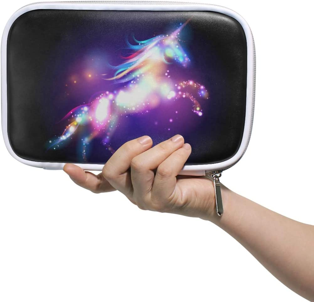 MRMIAN Magic Starry Galaxy Unicorn Multiple Large Leather Pencil Pen Bags Pouch Small Cosmetic Case with Zipper & Mulpti Packs