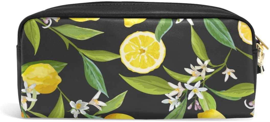 Linomo Pencil Bag Fruit Lemon Print Yellow Zipper Leather Pencil Case Pen Bag Pouch Holder Small Cosmetic Brush Makeup Bag for Travel Office School