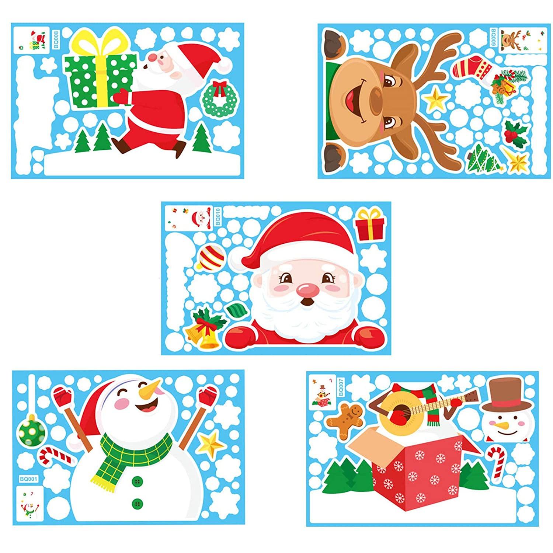 YINZI Personality 2020 Survivor Family 5PC Creative Customized Merry Christmas Cartoon Santa Cute Elk DIY Wall Windows Sticker Waterproof Cloth Holiday Stickers Decoration(D,5PC)