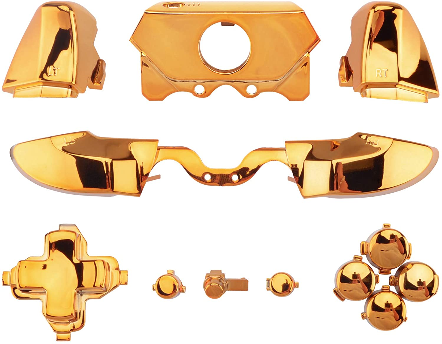 eXtremeRate LB RB LT RT Bumpers Triggers D-Pad ABXY Start Back Sync Buttons, Chrome Gold Full Set Buttons Repair Kits with Tools for Xbox One Standard & Xbox One Elite V1 Controller (Model 1697/1698)