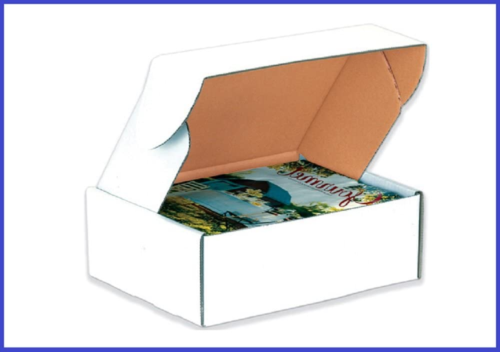 BoxYeah 50 Pack - Deluxe White Literature Mailers Shipping Boxes - 45 Sizes to Choose - Example (12 1/8 x 9 1/4 x 4)