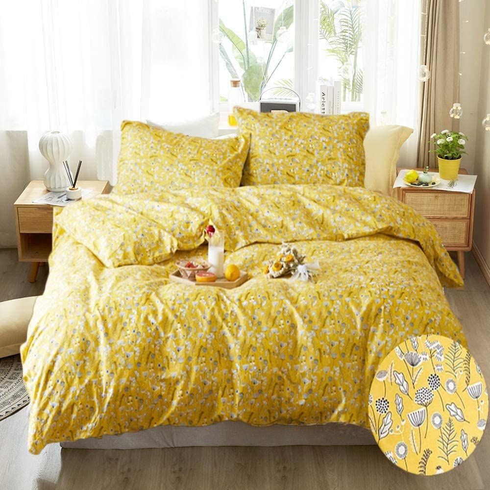 Cottonight Yellow Floral Duvet Cover Queen Flowers Branches Bedding Full Dandelion Pattern Cotton Bedding Set for Girls Teens Women Super Soft Comfy