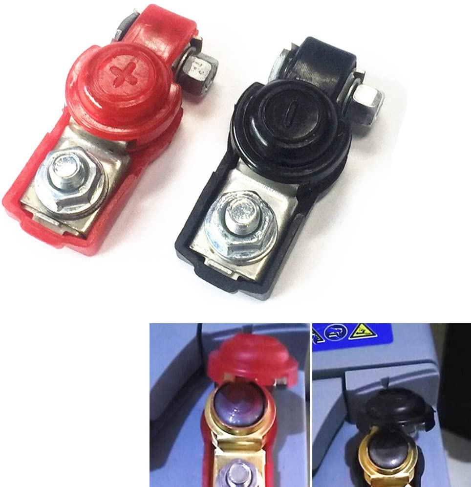 Qiorange 1 Pair Black Red Plastic Protection Cover Auto Car Adjustable Battery Terminal Clamp Clips Positive Negative (Type E Set)