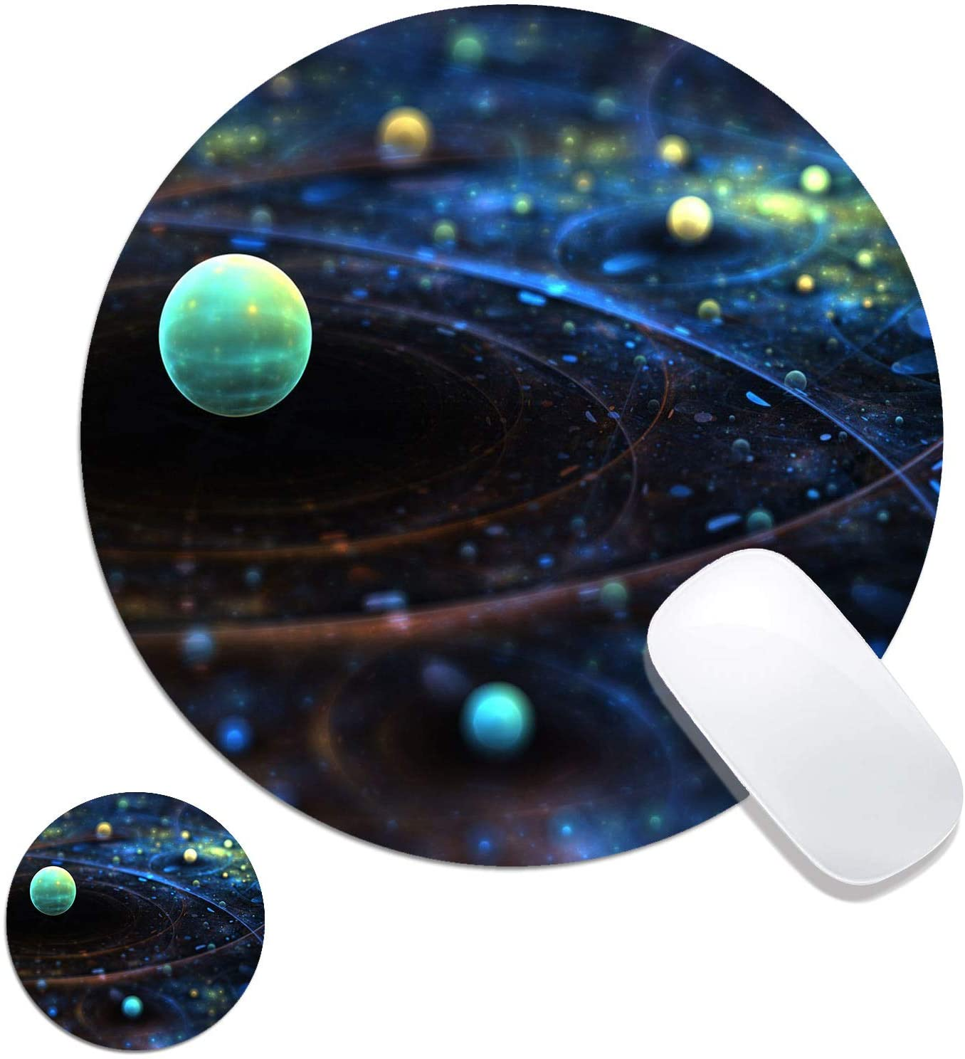 Round Mouse Pad, Space Galaxy Customized Designs Non-Slip Rubber Base Gaming Mouse Pads and Coaster Set for Mac, PC, Computers. Ideal for Working Or Game 7.9x7.9inch