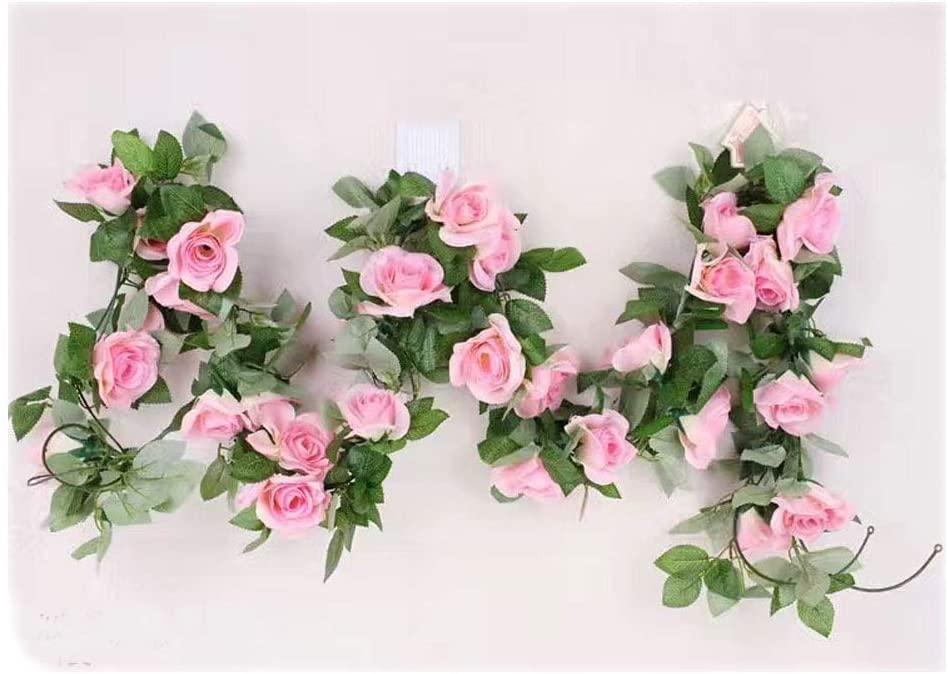 tatoko 2.3 M/86inch Silk Flowers Artificial Rose Vines Fake Rose Flower Strip Wedding Decorative Flowers Home Decoration 2PCS (Pink)