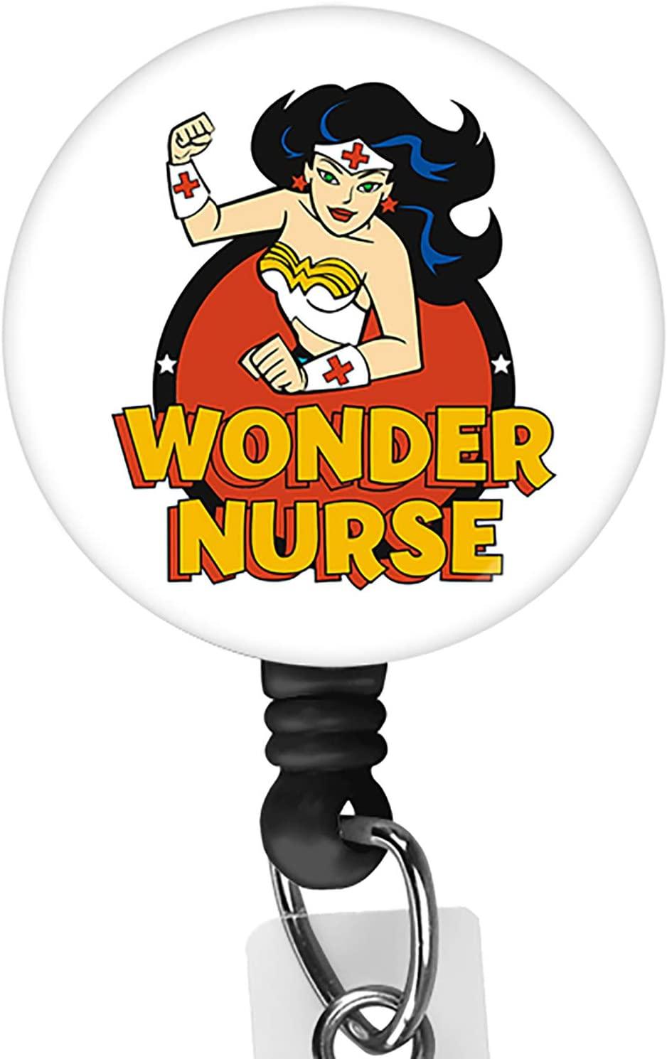 Wonder Nurse Retractable ID Card Badge Holder with Alligator Clip, Name Nurse Decorative Badge Reel Clip on Card Holders