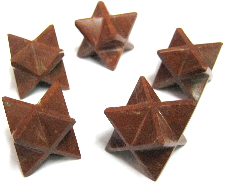 CRYSTALMIRACLE Beautiful Set of Five RED Jasper Stars Crystal Healing Metaphysical Gemstone Merkaba Reiki Men Women Gift FENG Shui Positive Energy Strength Chakra Balancer Health Mind Protective