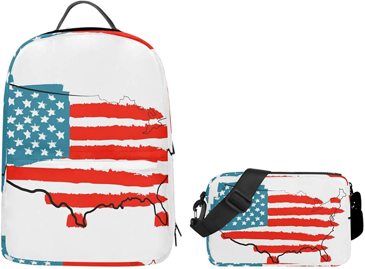 Kaariok American Map USA Flag Backpack Set Travel Daypack Shoulder Bags Crossbody School Laptop College Bag 2 in 1