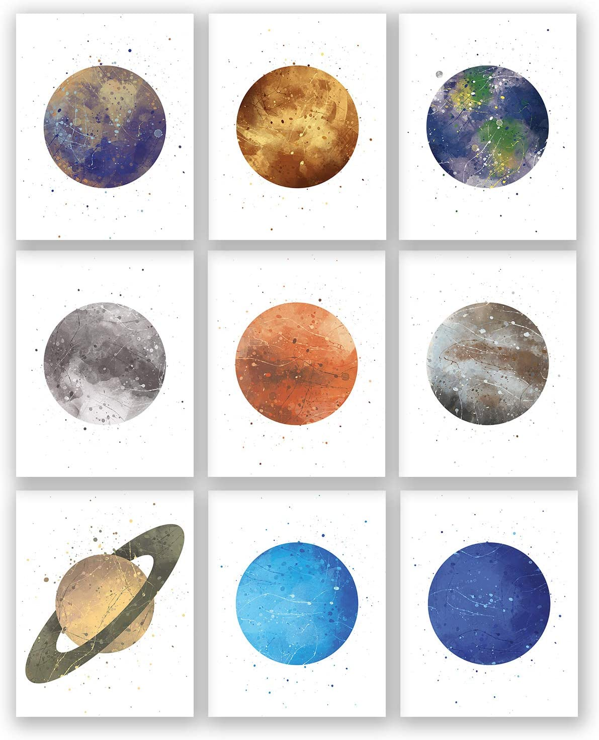 Set of 9 Posters with Planets on Night Sky -Mercury- Venus - Moon - Earth - Mars -Jupiter - Saturn - Uranus - Neptune - Watercolor Art - Solar System Print - Bedroom Wall Decoration (White, 11x14)