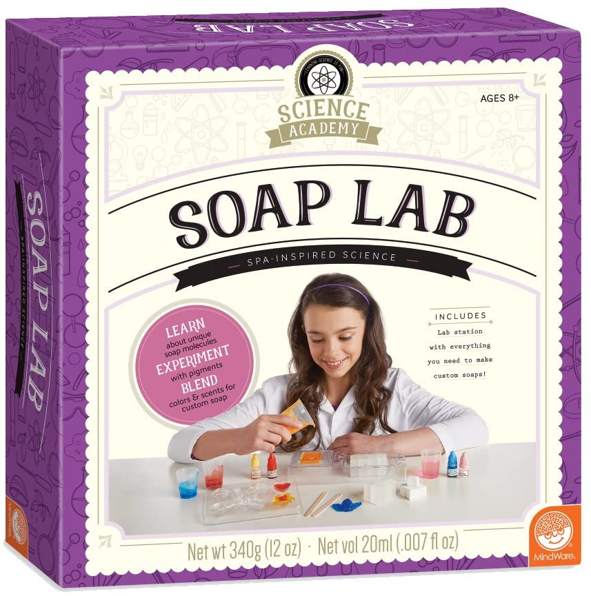 MindWare Science Academy Soap lab - Kids & Teens Create 6 soap-Making Crafts with Our Easy 16pc Science kit – A Creative DIY Chemistry kit for Both Boys & Girls – Great Gift for Children & Teenagers