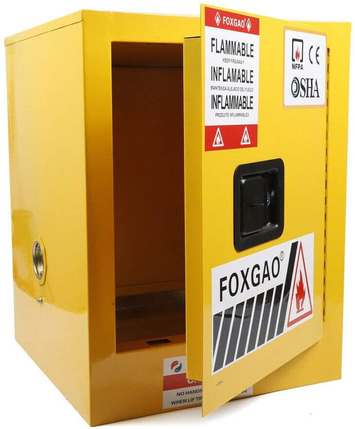 Safety Storage Cabinet for Flammable Liquids Fireproof Leakproof with Manual Doors Cold Rolled Steel Flammable Cabinet Safety Storage(Yellow) (12 Gallon)