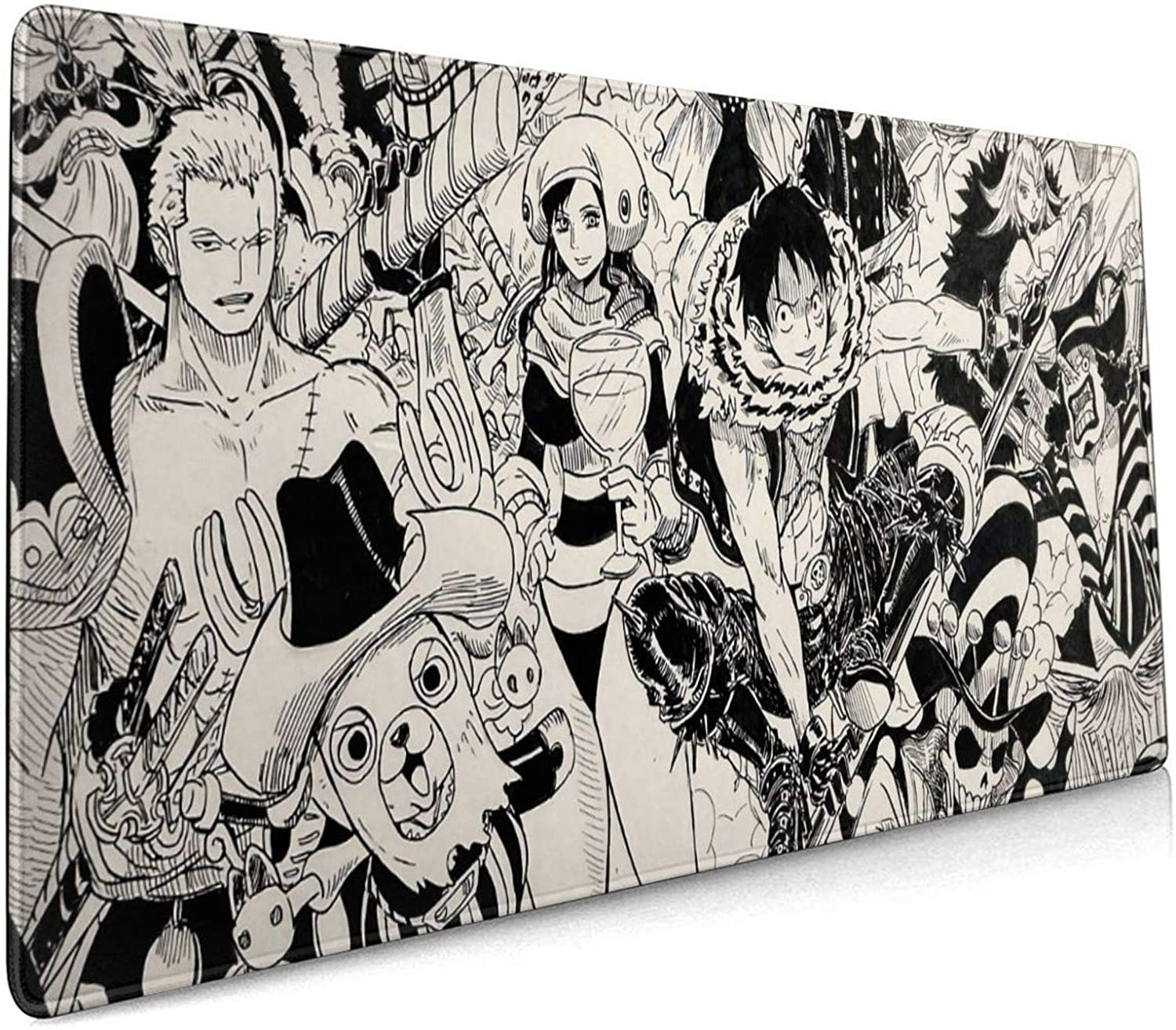 One Piece 35.5x15.8 Inch Large Gaming Mouse Pad One Piece Extended Mat Desk Pad Non-Slip Water-Resistant Rubber Mice Pads Anime Mouse Mat
