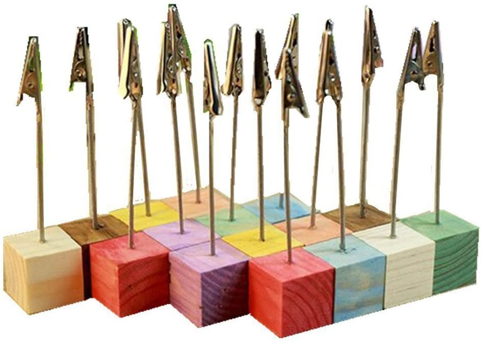 Tinksky 16pcs Cube Base Photo Holders Card Note Desk Memo Clips Holder (Random Color)