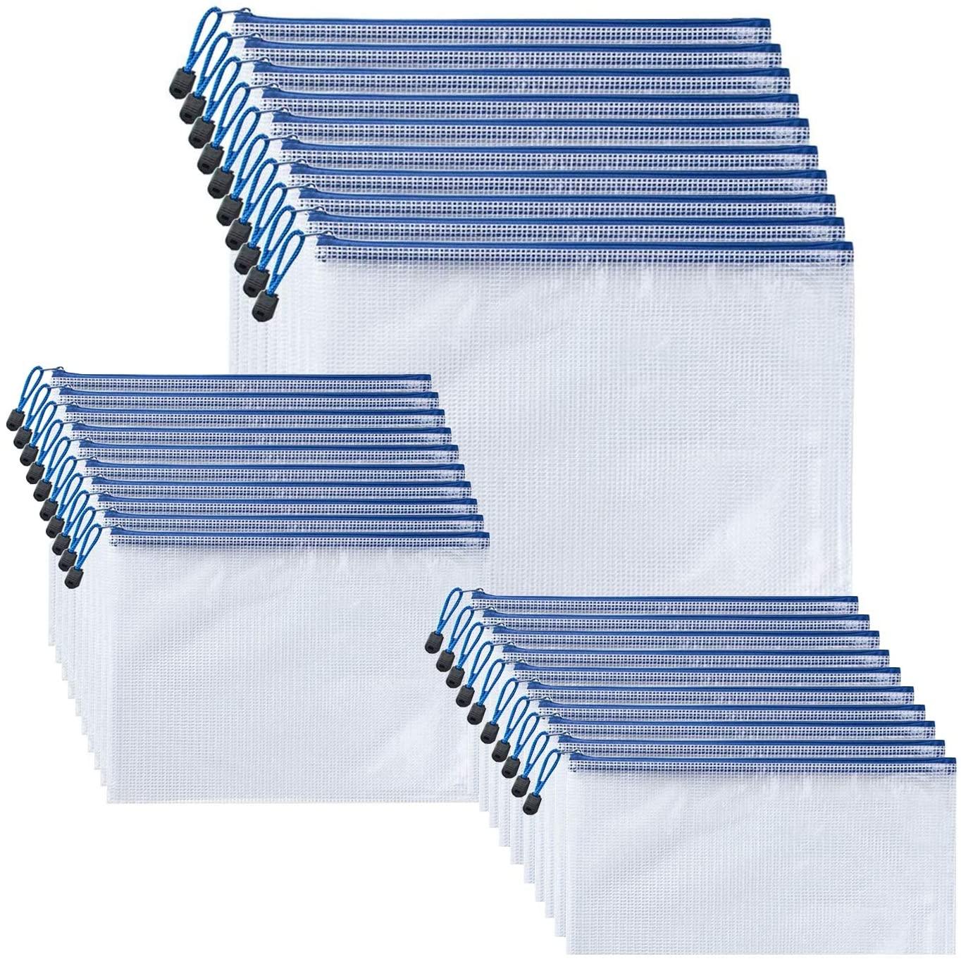 ZucpBF 36 Packs Zipper Envelope Pouch, Mesh Zipper Pouch Document Bag, Zippered File Bag Storage for Office Document,Plastic Zip File Folders, Zipper File Bags,A4,A5,Bill