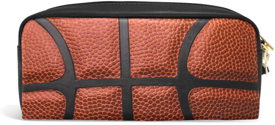 ALAZA Sport Basketball PU Leather Pen Pencil Case Pouch Case Makeup Cosmetic Travel School Bag
