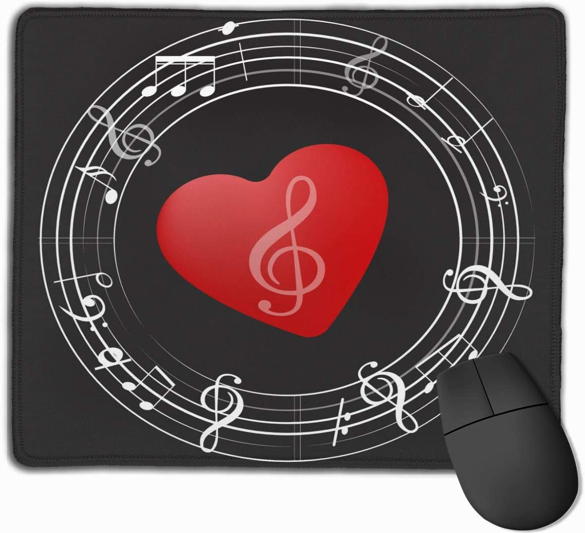 Music Symbols Gaming Mouse Pad Custom Non-Slip Rubber Rectangle Mousepad Design Stitched Edges 9.5×7.9 Inch Black Red