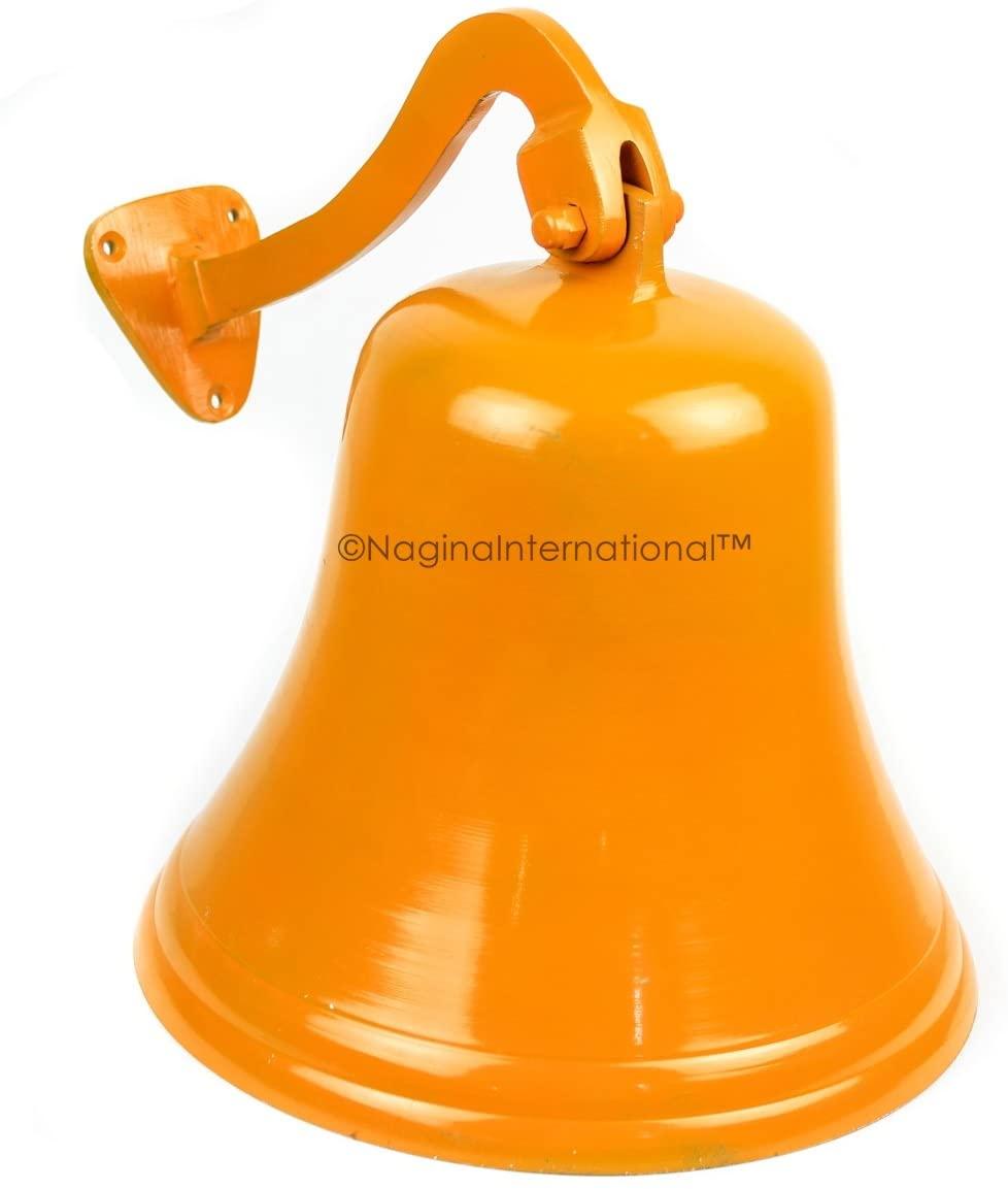 Nagina International Navy's Nautical Ship's Aluminum Cast Premium Bell | Nursery Decor Gifts (7 Inches, Orange)