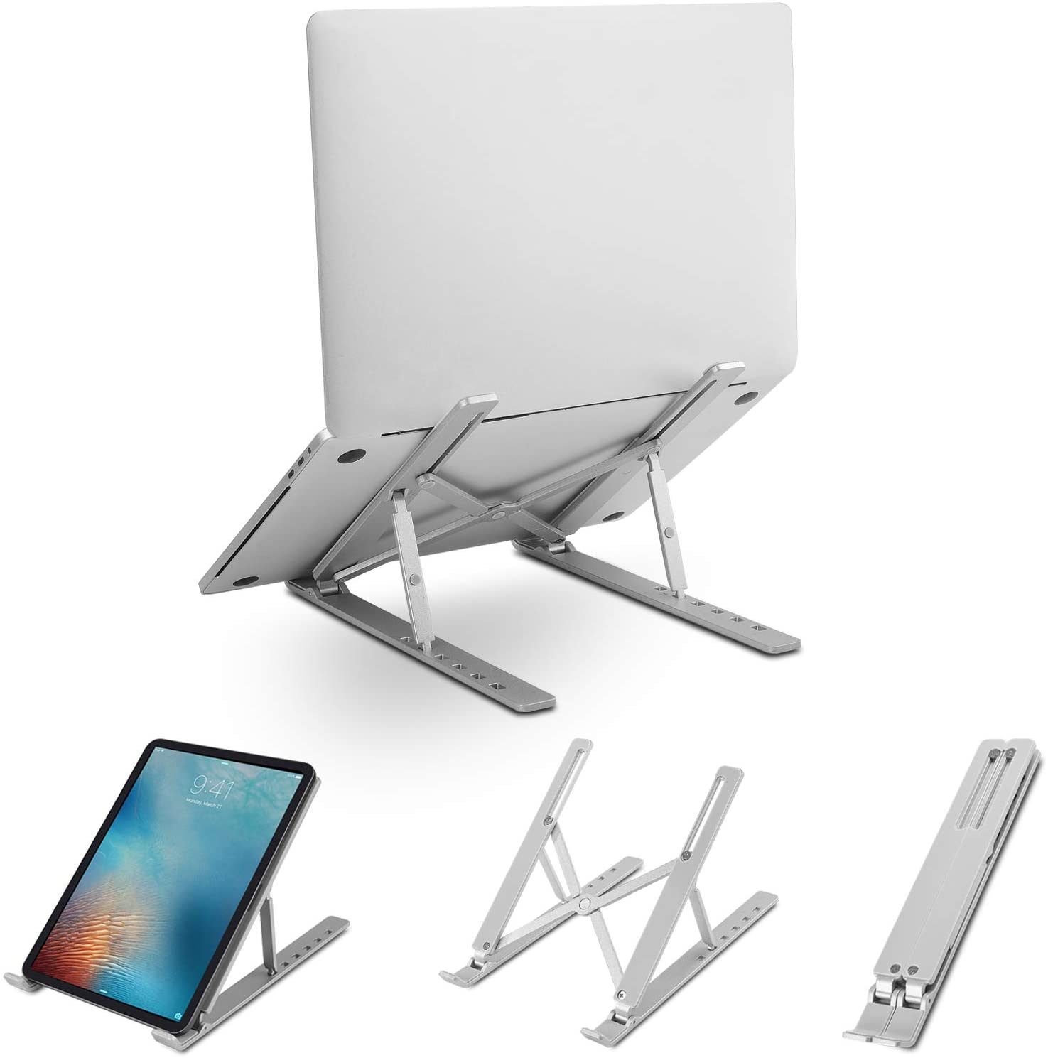 xisiciao Portable Foldable Aluminum Laptop Stand Holder, Adjustable Laptop Cradle for Desk,Compatible with MacBook Air, MacBook Pro, Microsoft Surface,HP, Dell, Lenovo More (Up to 17 inch),