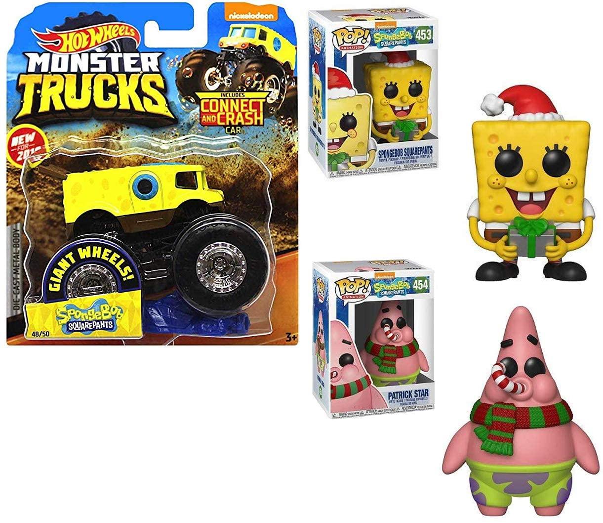 Sea Sponge Bob The Spongebob Monster Truck Action Jam Squarepants Wheels Official Pickup Bundled with Holiday Pop! Figure & Patrick Star Vinyl Character 3 Items Bundle
