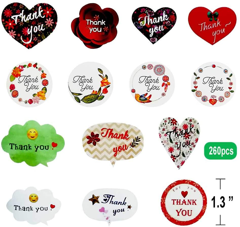 Thank You Stickers Seals Labels, 14 Different Patterns, Thank You Sticker for Gift Cards, Envelopes, Gift Boxes, Cookies,Christmas, Wedding, Birthday Party, Baby Shower (260pcs)