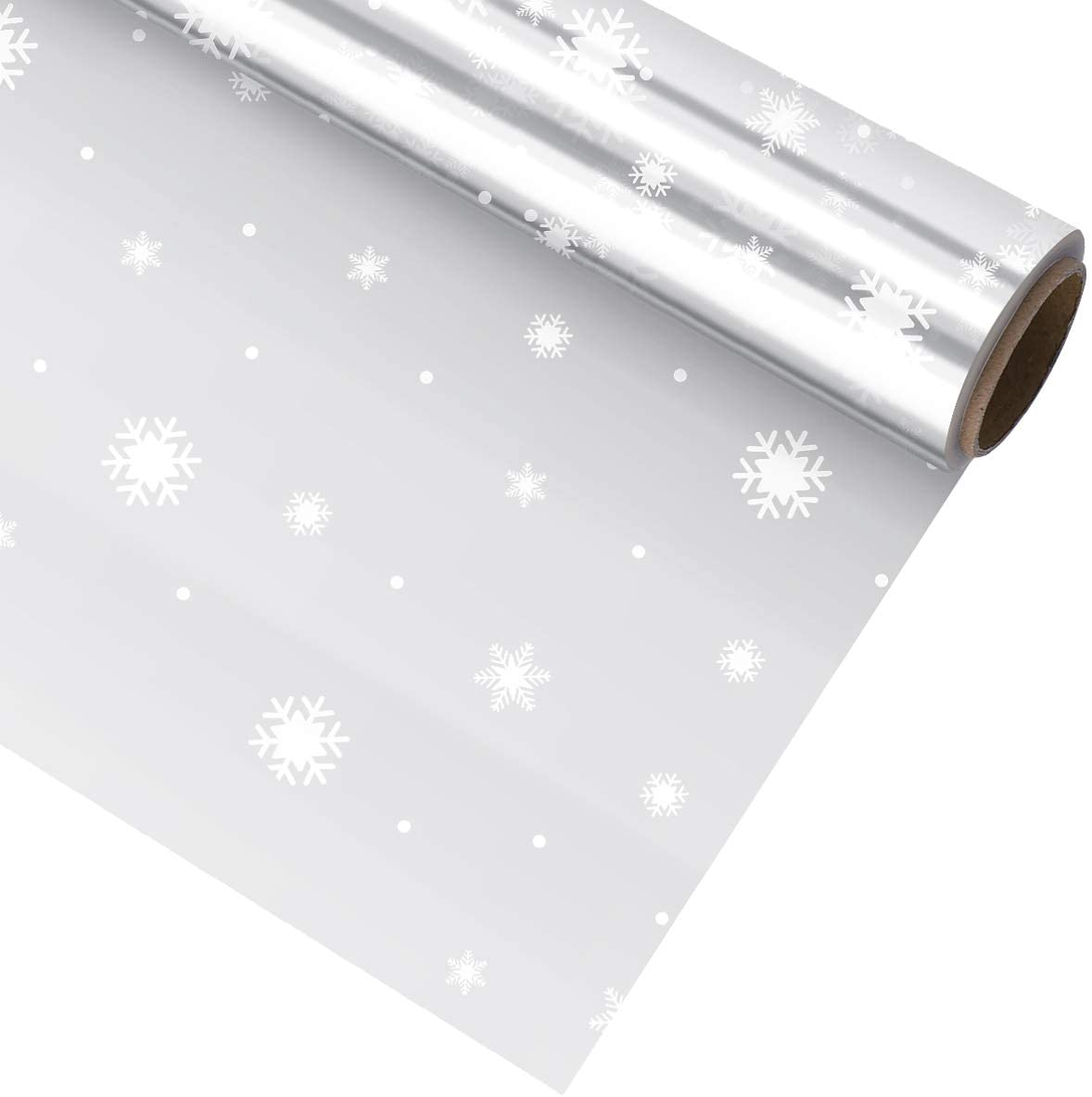 NUOBESTY Snowflake Cellophane Wrap Roll Christmas Wrap Paper, 3 Mil Thickness 3000x80cm, for Xmas Gift Wrapping Flowers Packing Party Favor