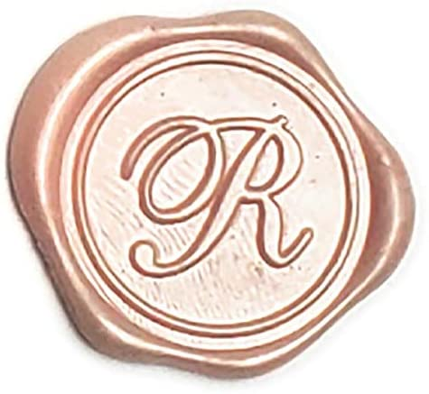 Adhesive Wax Seal Stickers 25Pk Pre-Made from Real Sealing Wax-Champagne Initials (Initial R)