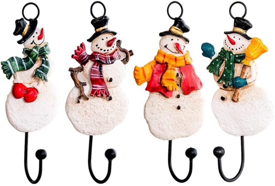 GARNECK 4PCS Decorative Wall Hooks Iron Wall Hanger Christmas Snowman Wall Decoration Coat Hooks for Scarf Bag Towel Key Cap Hat