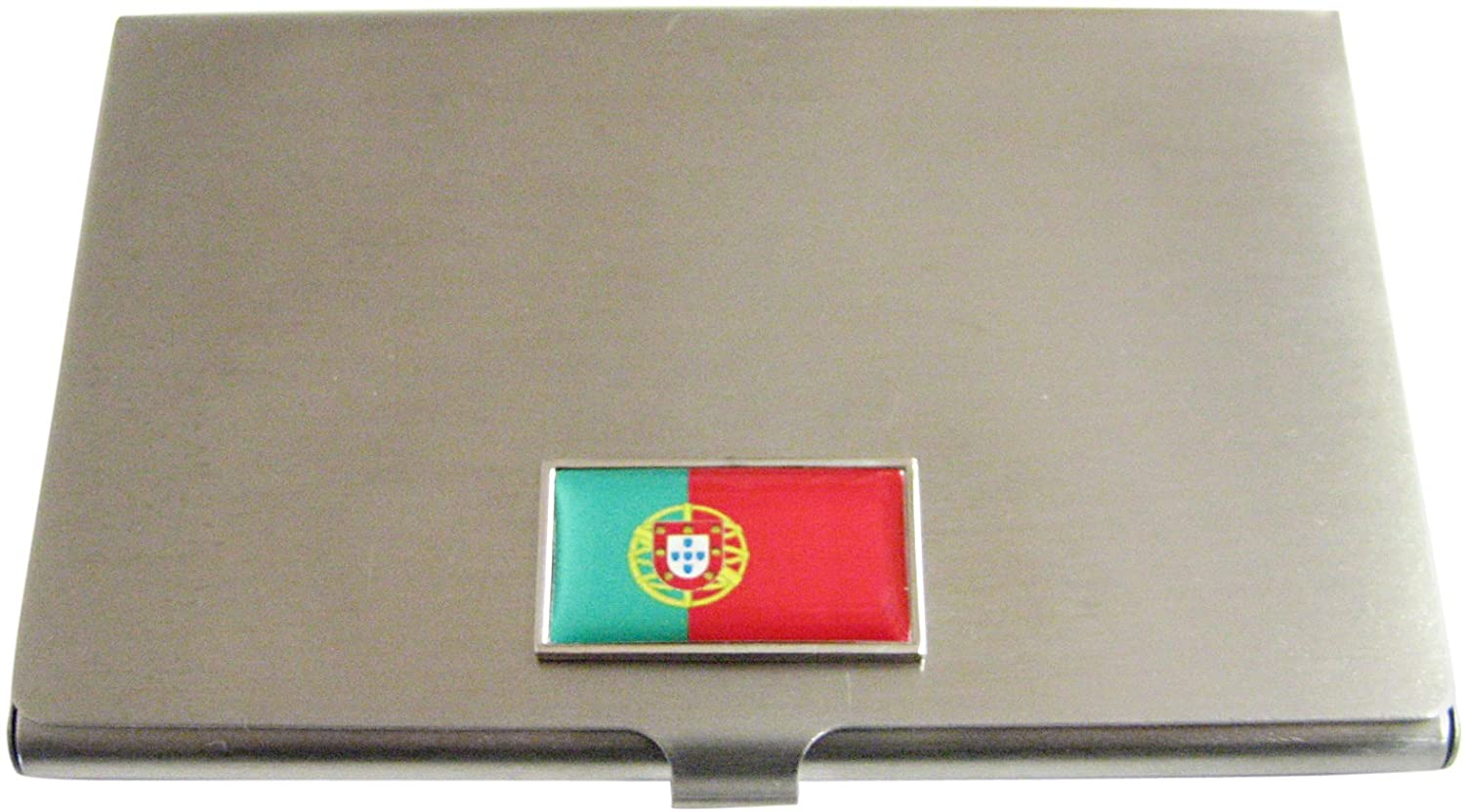 Thin Bordered Portugal Flag Pendant Business Card Holder