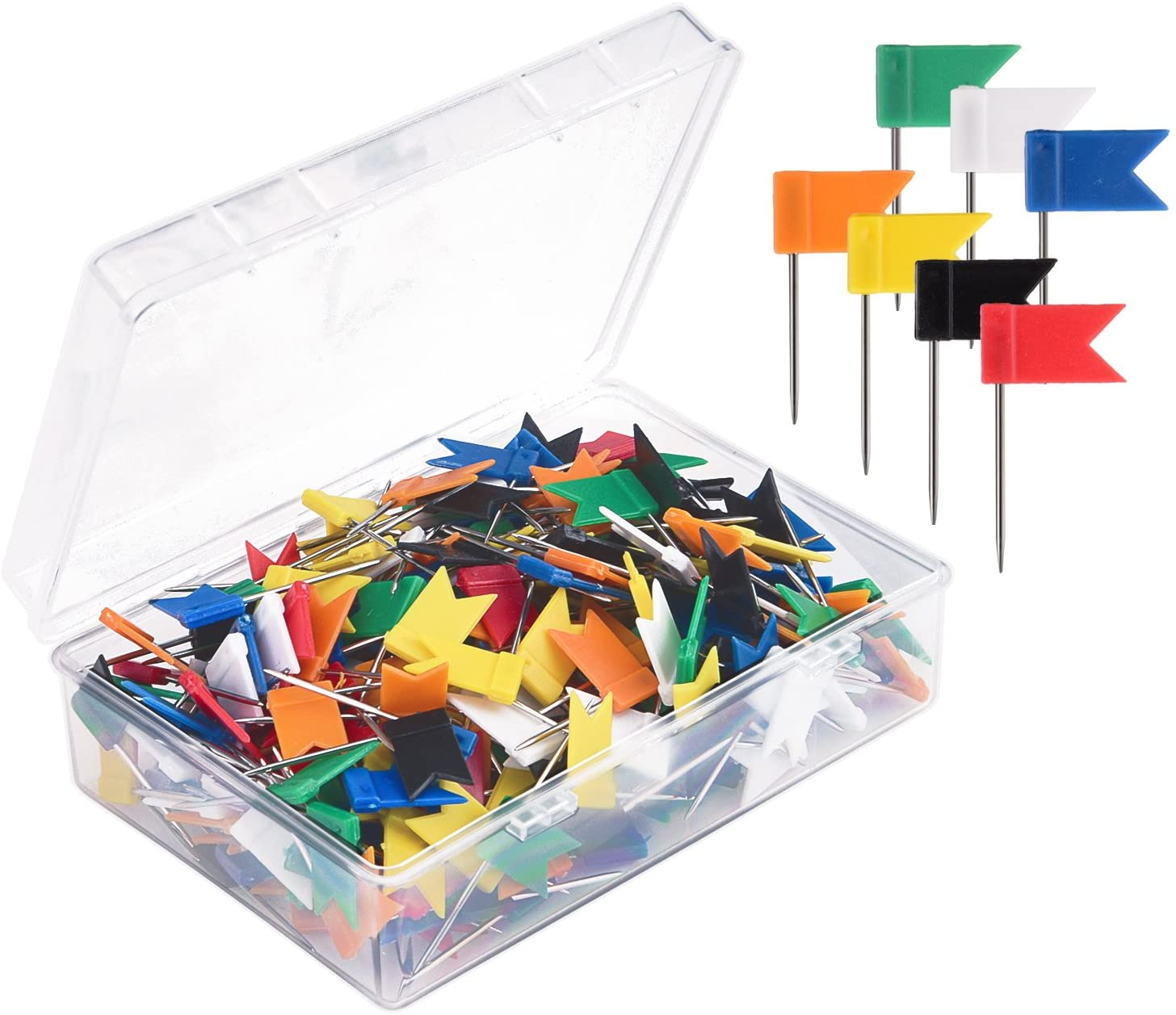 Sunmns 300 Pieces Map Flag Push Pins Tacks, Assorted 7 Colors