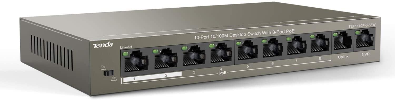 Tenda 10-Port 10/100 Mbps PoE Switch | 8 POE +2 Uplink Port | Unmanaged Ethernet Switch | QoS | One-Key VLAN | Plug and Play | Traffic Optimization | Metal | Fanless (TEF1110P-8-63W)