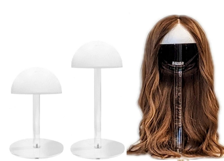 J&M Design Clear Acrylic Wig Stand w/Styrofoam Head Top Sleek Design Mannequin Hat Display 3 sizes to choose 12-15-19 (15 INCH)