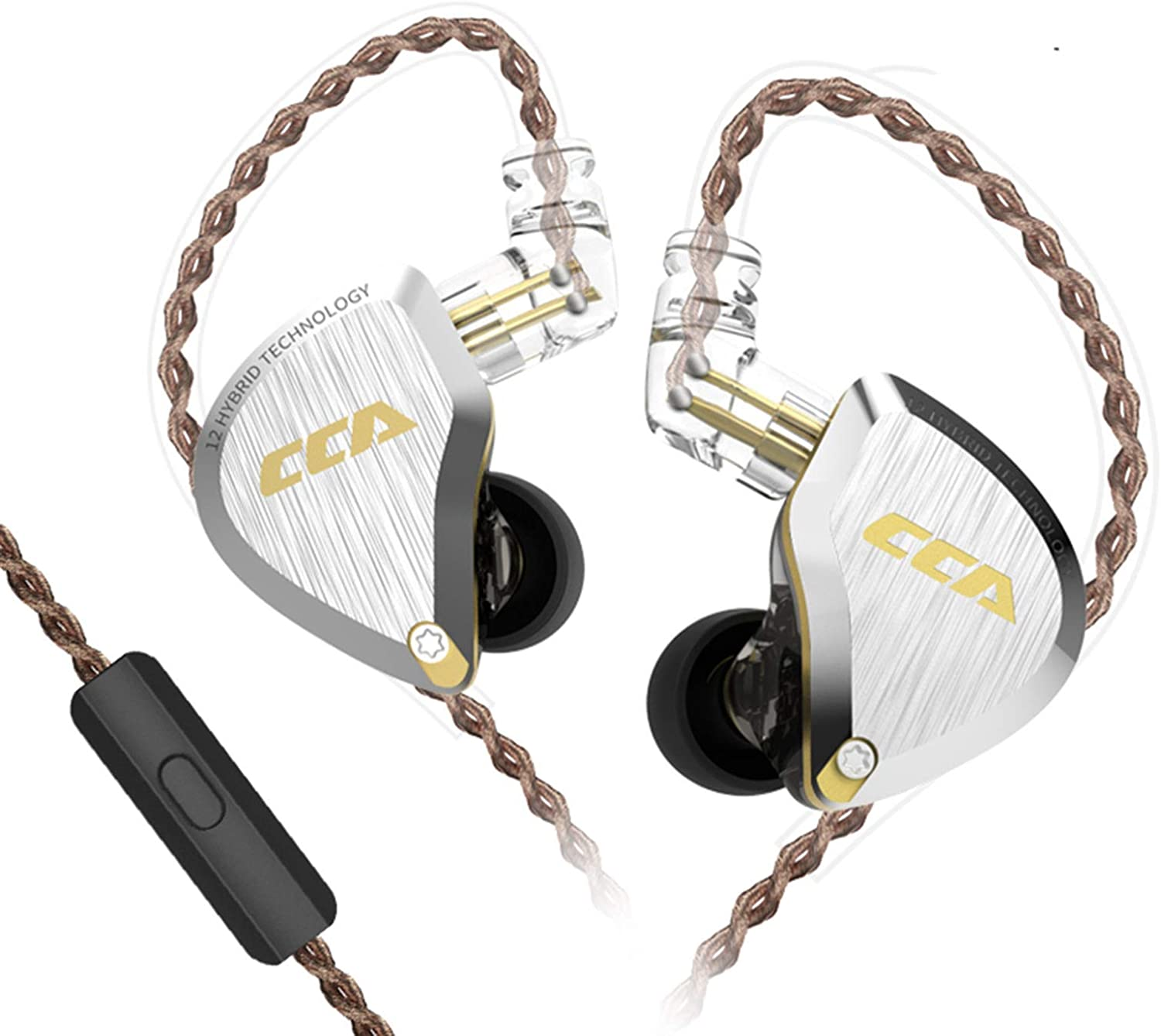 CCA C12 in-Ear Earphones, 5BA+1DD in Ear Monitor Hybrid HiFi Stereo Noise Isolating IEM Wired Earphones/Earbuds/Headphones with Detachable Cable CPin for Musician Audiophile (with MIC, Gold)