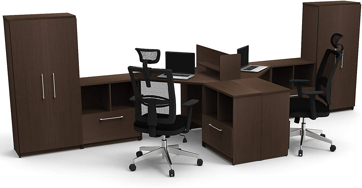Office Reception Desk Reception Corner Collaboration Including Chairs Model 5828 11 Pc Group Contemporary Espresso Color. Commercial Grade Collaboration Furniture. Seating Included