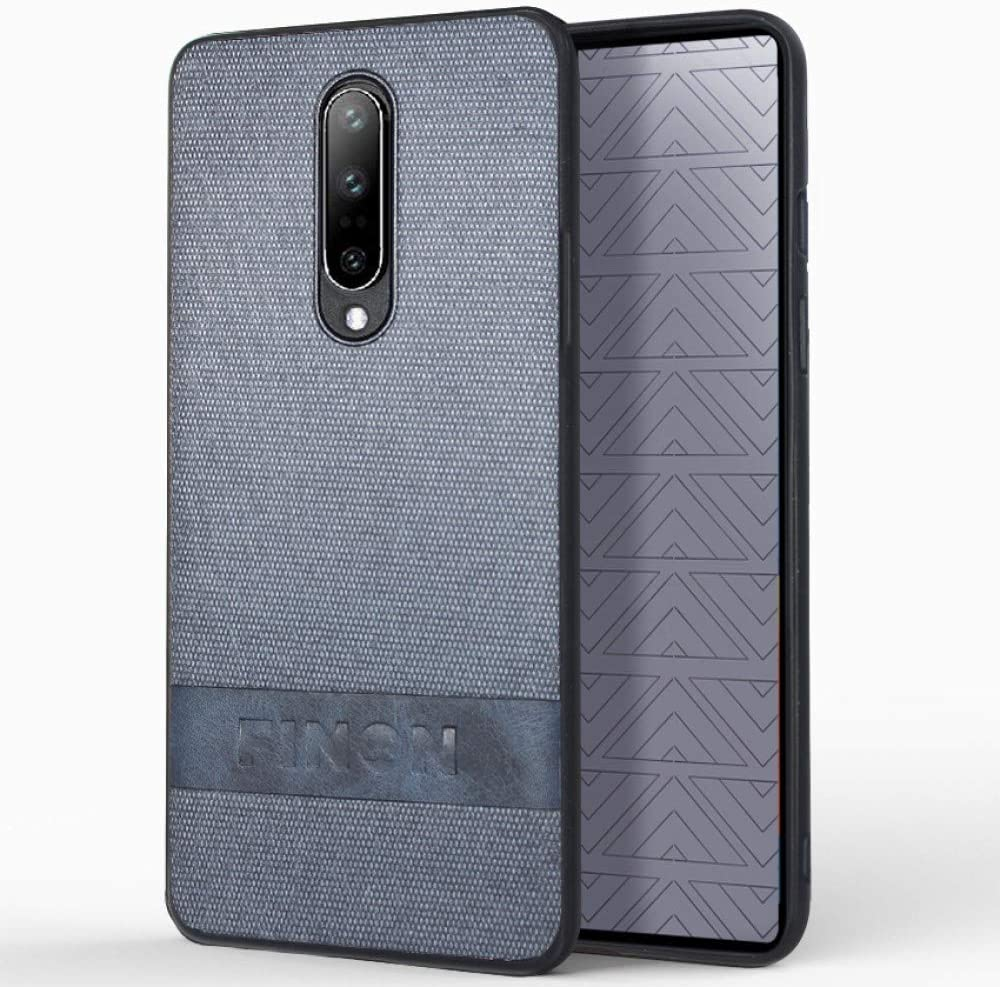 FINON Design Cotton Model [ PC/TPU/Cotton ] for OnePlus 8 Case - Fingerprint Prevention Function and Simple Hybrid case, Cotton Design, Shock Resistance, Lightweight - Navy