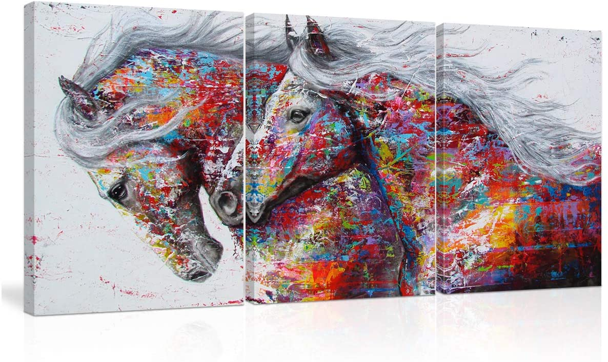 Graffiti Colorful Two Running Horses Abstract Wall Art Canvas Oil Paintings on Canvas Contemporary 3 Panel Animals Poster for Living Room Office Home Decor Framed Ready to Hang