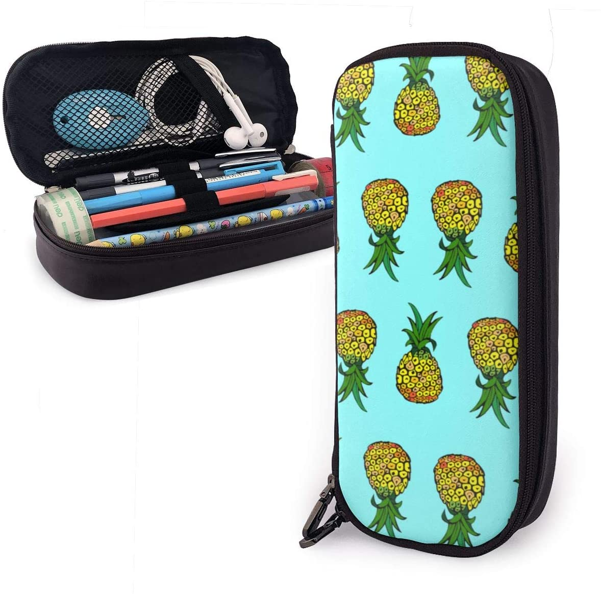 NiYoung Large Capacity Premium PU Leather Storage Pouch Pen Pencil Case Stationery Bag Holder for School Students Office Workers, Sunshine Pineapple