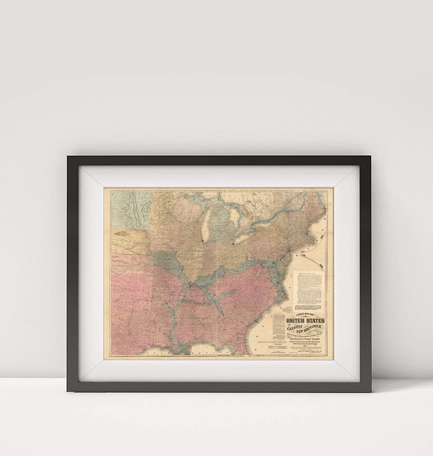 Infinite Photographs 1864 Map of United States|Lloyd's New Map of The United States, The Canadas and New Brunswick, showi