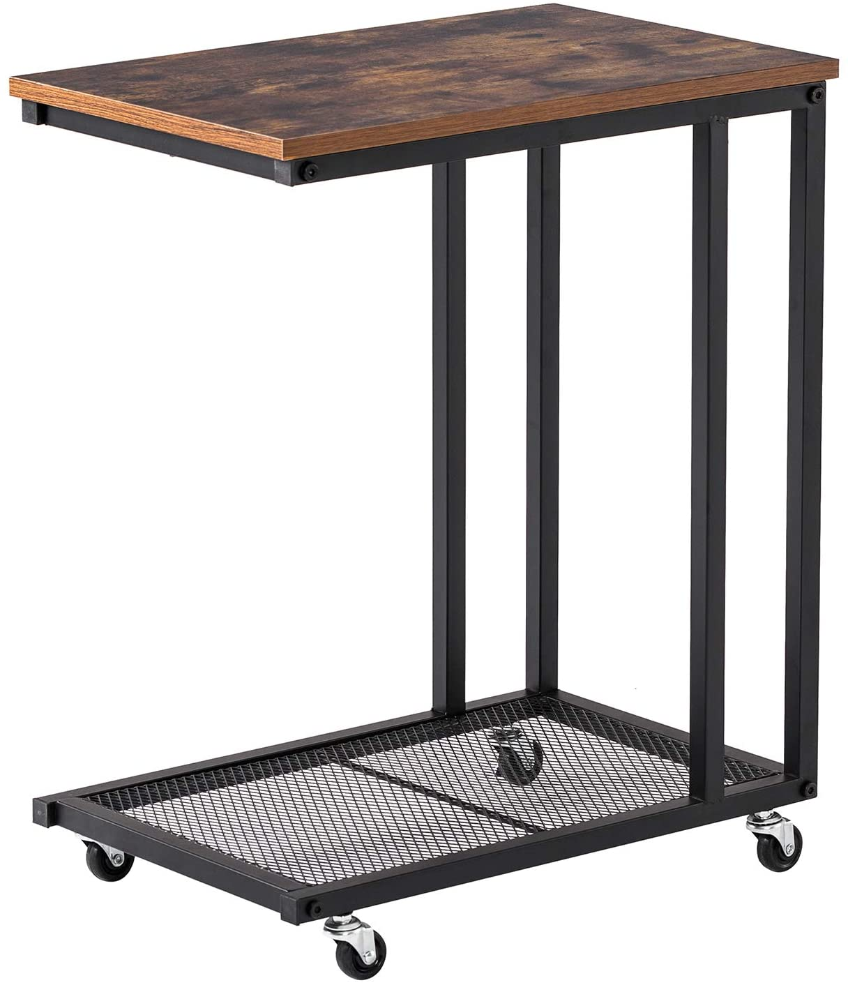 Yasmine Industrial Side Table, Mobile Snack Table for Coffee Laptop Tablet, Slides Next to Sofa Couch, Wood Look Accent Furniture with Metal Frame