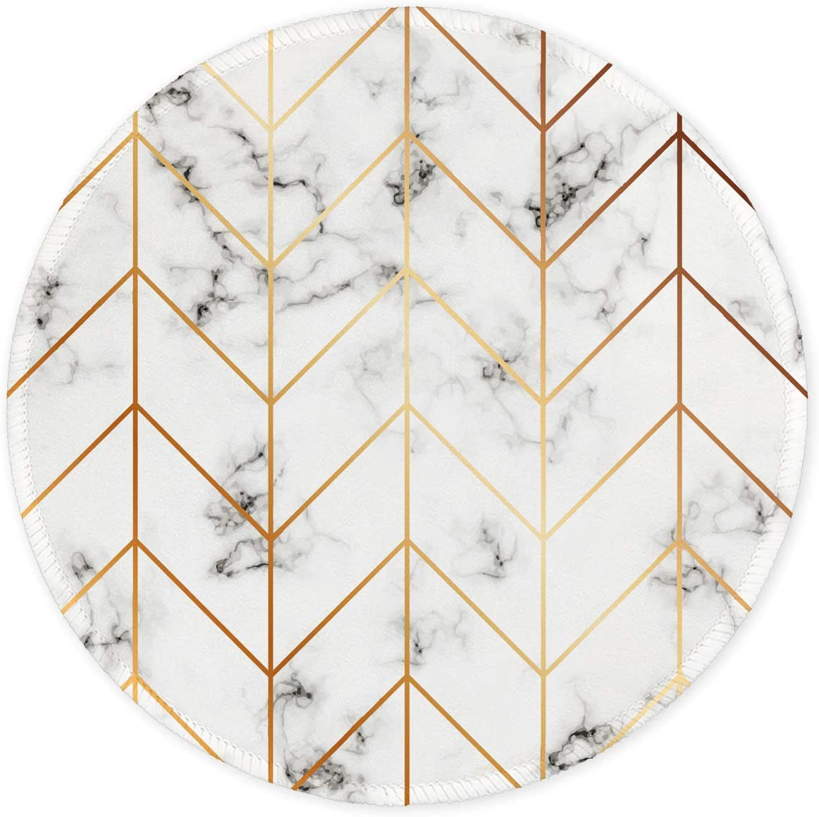 Auhoahsil Mouse Pad, Round Marble Theme Anti-Slip Rubber Mousepad with Durable Stitched Edges for Gaming Office Laptop Computer PC Men Women Kids, Cute Custom Design, 8.7 x 8.7 in, Striped Marble