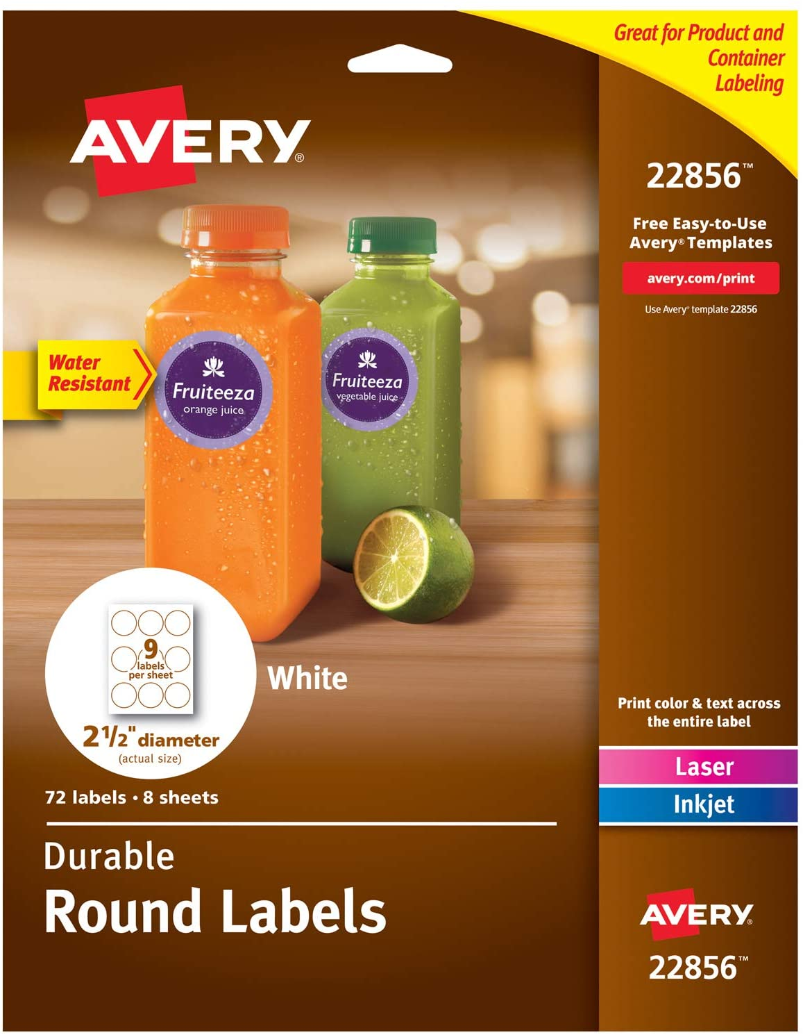 Avery Round Labels with Sure Feed for Laser & Inkjet Printers, 2.5