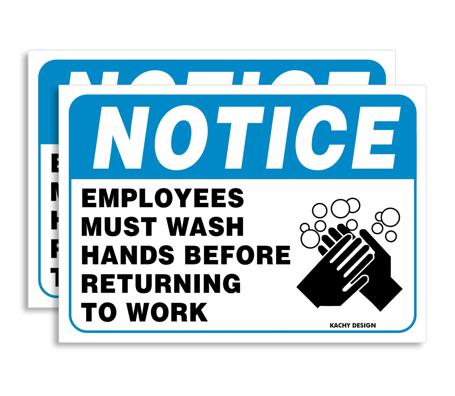 (Set of 2) Employees Must Wash Hands Sign | 10