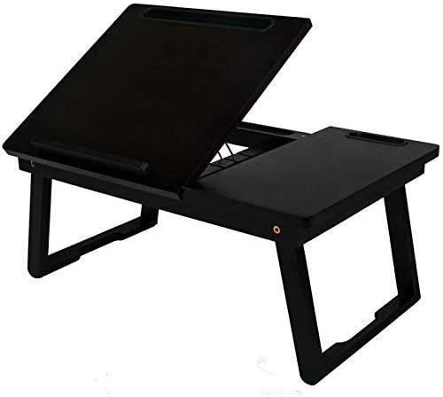 EkouPlus Bamboo Multi-Tasking Laptop Desk Foldable Bed Tray Adjustable Lap Desk Breakfast Table with Phone Holder (Walnut,21.6X13.6X9.3 Inch)