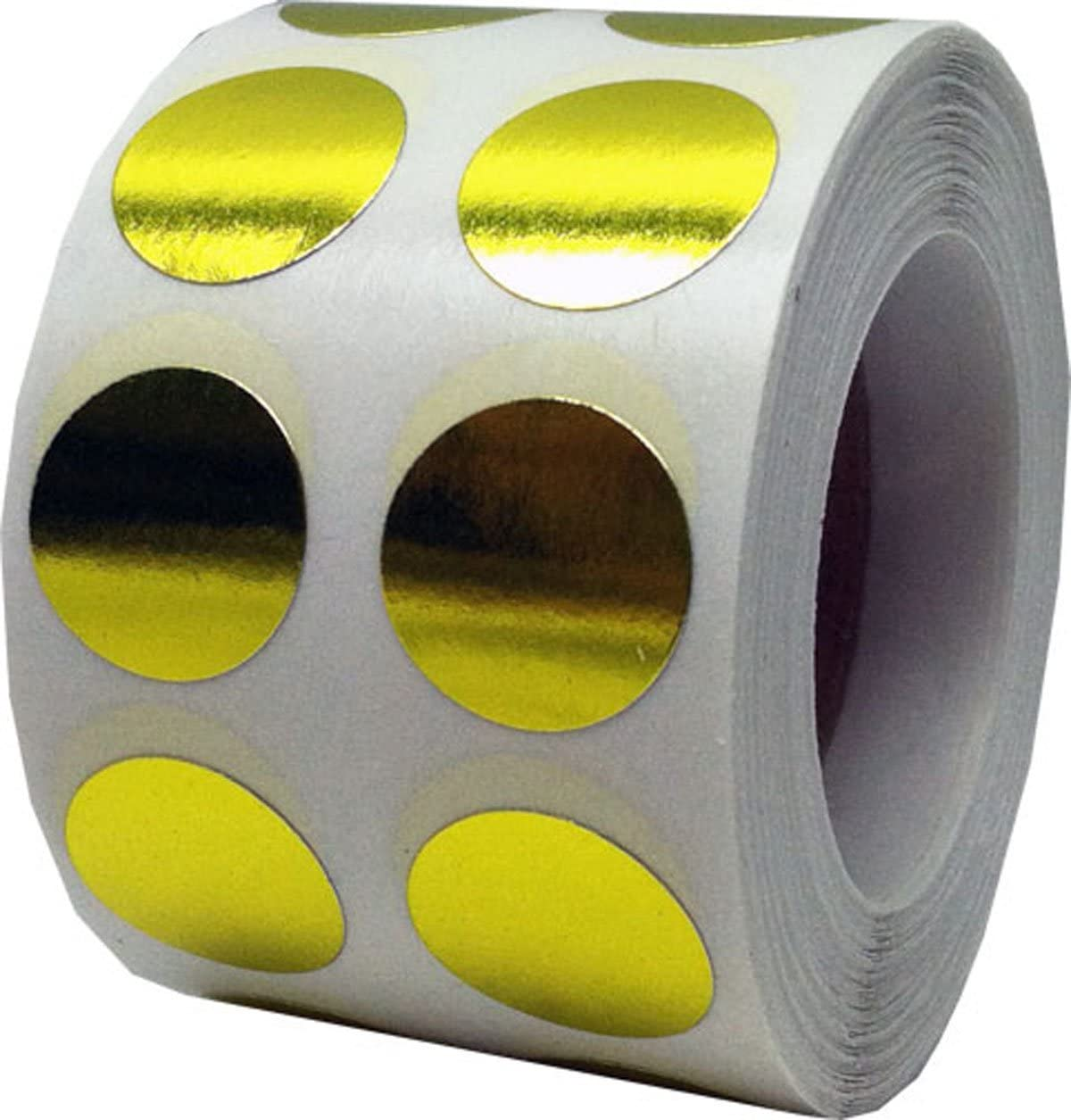 Metallic Gold Color Coding Labels for Organizing Inventory 0.50 Inch Round Circle Dots 1,000 Total Adhesive Stickers On A Roll