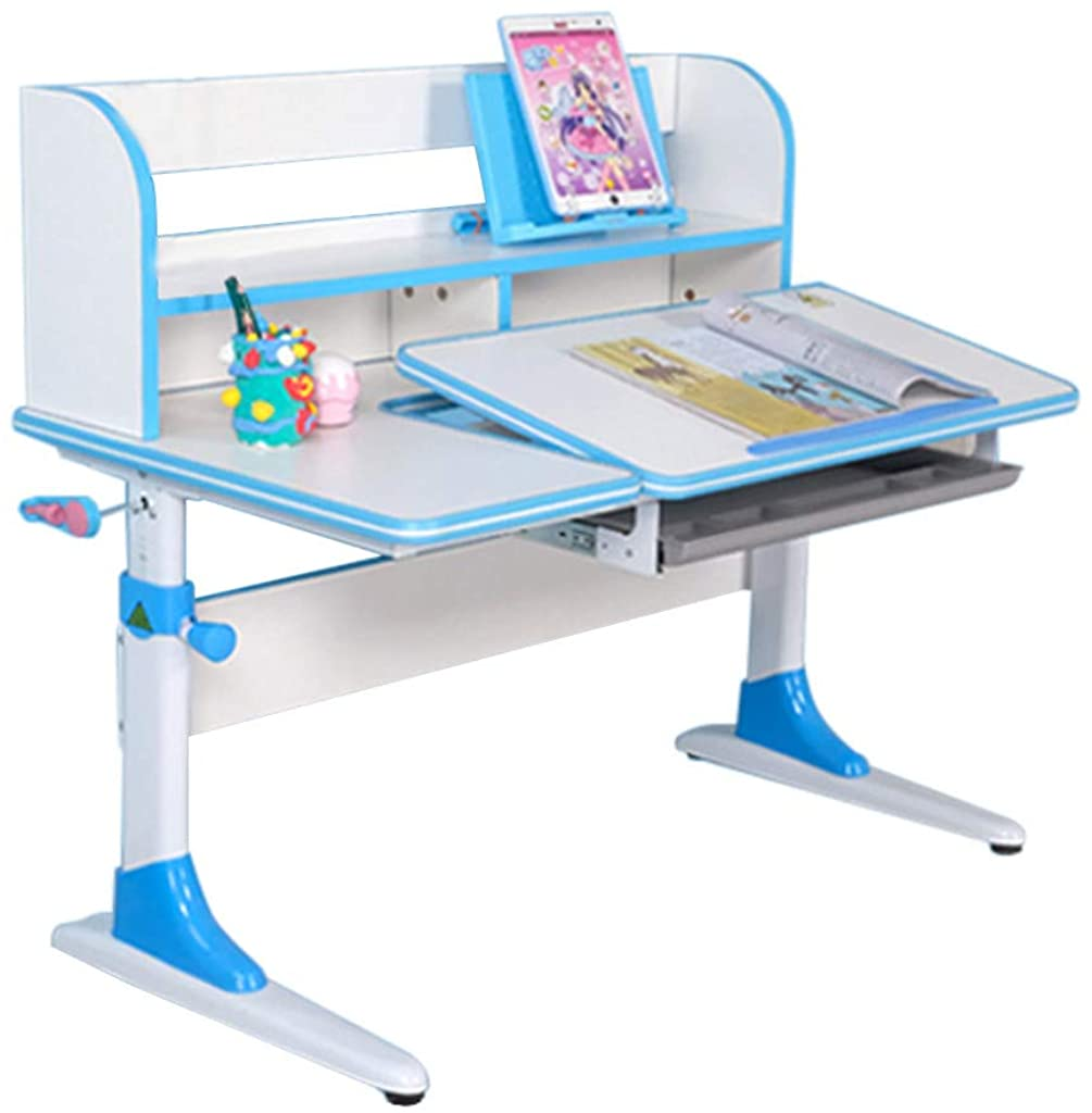 Goiwiejhg Height-Adjustable Study Desk with Bookshelf, Pull-Out Drawer and Tilted Desktop