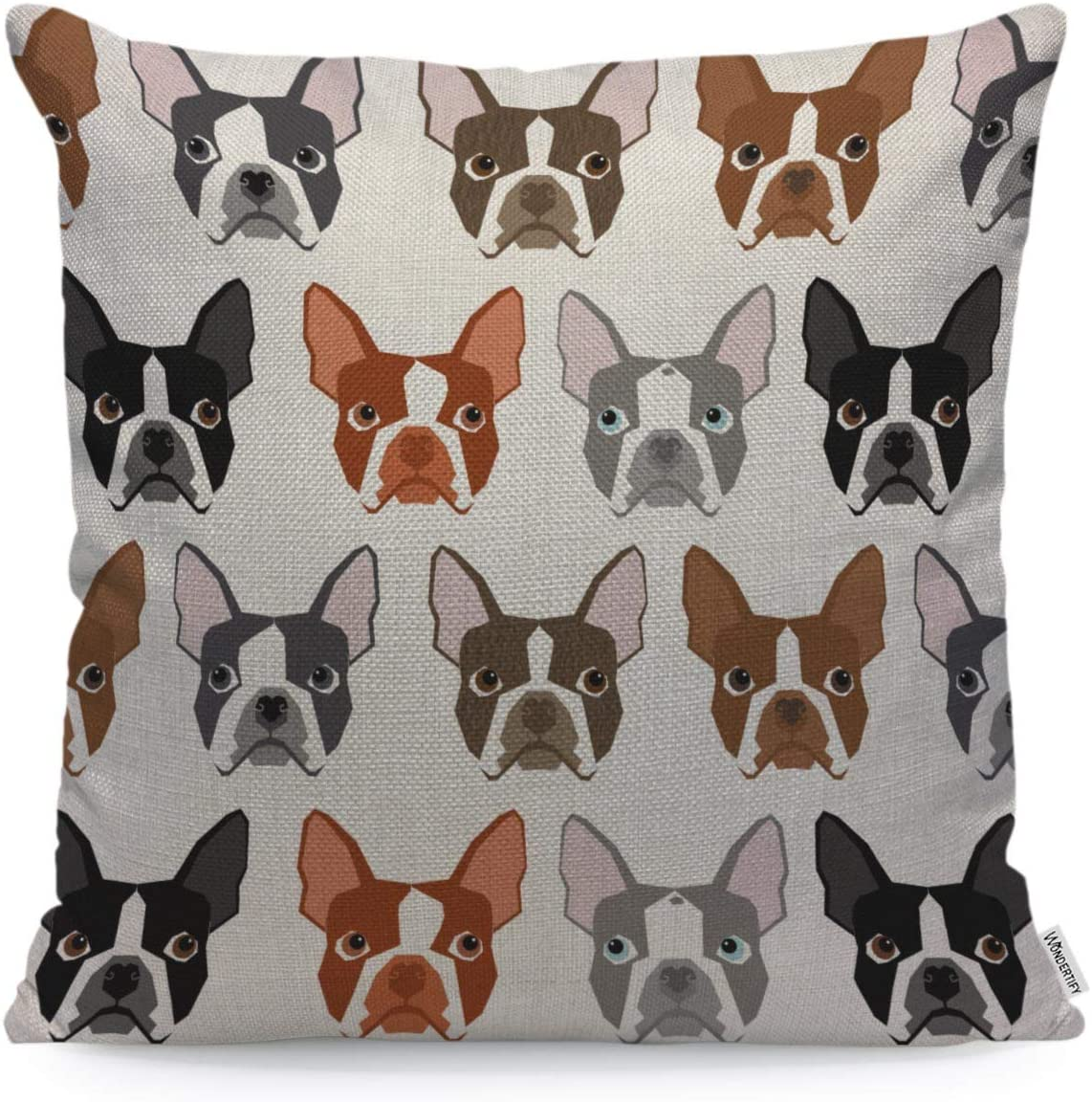 WONDERTIFY Throw Pillow Cover Case Dog Boston Terrier Seamless Pattern - Soft Linen Pillow Case for Decorative Bedroom/Livingroom/Sofa/Farm House - Couch Pillow Cushion Covers 18x18 Inch 45x45 cm