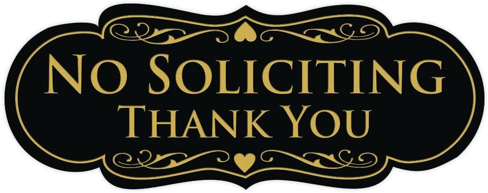 All Quality Designer NO Soliciting Thank You Sign - Black/Gold Medium